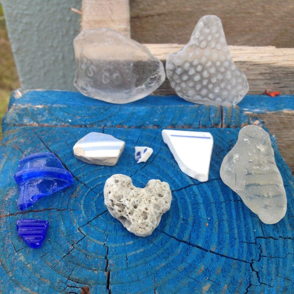Save50 sea pottery bulk 9 pieces unique beach treasures for Unique craft items