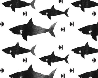 Shark Fabric by the Yard. Quilting Cotton, Knit or Jersey. Sharks Nautical Ocean Children's Fabric Nursery Monochrome Black & White