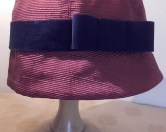 Vintage Style Red Cloche Hat with Blue Velvet Ribbon