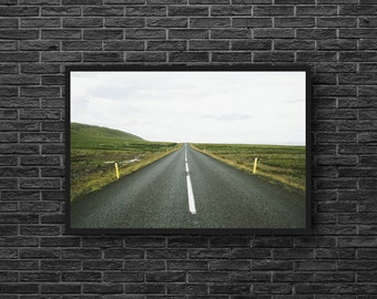 Highway Photo - Road Landscape - Road Trip Photo - Green - Road Photography - Way Photo - Road Wall Art - Men Room Decor - Photography