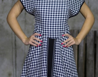 A-Line Houndstooth Evening Dress | Smart Casual Dinner Dress | Black and White Boatneck Dress | Knee Length Party Dress by Silvia Monetti