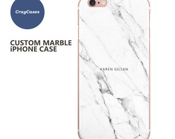 Custom Name iPhone 7 Plus, white Marble iPhone case, personalised marble iPhone 6s case, 6 Plus, 6, cell phone cover (Shipped From UK)