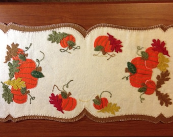 Lumenaris Hand Embroidered Finished Harvest Home Mat made of Wool Felt