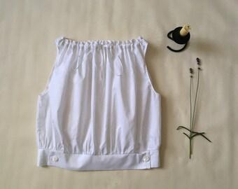 Camisole/Top/Blouse/Cami/Pyjamas/Pajamas - Vintage Style - 100% Cotton Lawn - White/Cream/Black - Made to Order