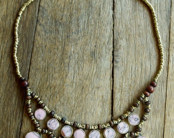Handmade Ethnic Pink Stone Necklace
