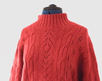 1990s red wool cable knit jumper / sweater