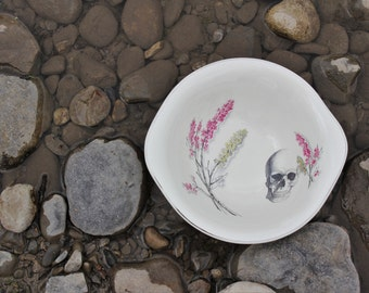 Ikebana Skull Handled Serving Platter