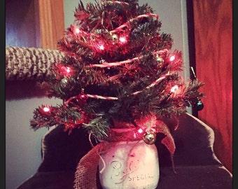 Christmas tree in a mason jar