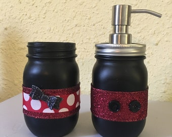 Mickey and Minnie Mason jar bath set, disney lover, kids bathroom decor, bathroom decor