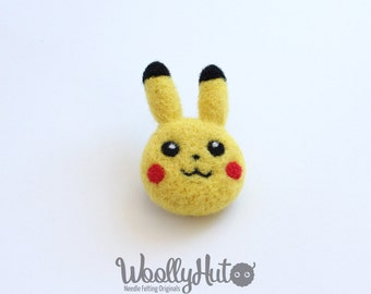Needle Felted Pikachu Pin Brooch, Felted Pokemon Pikachu, Pikachu Pokemon Brooch, Handmade Pikachu