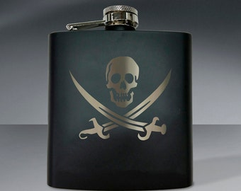 Pirate Flag Flask 02 - 6 oz. Flask