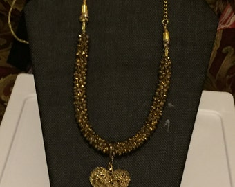 Gold Beaded Kumihimo Braided Necklace