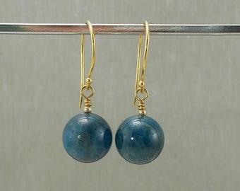 Free UK P&P 925 Sterling Silver Vermeil Blue Fancy Jasper Earrings