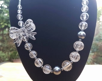 Crystal Glass Bow Beaded Necklace