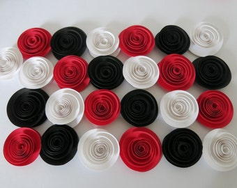 24 red black and white roses, popular wedding flowers, bridal shower decorations 3D table scatter centerpiece idea birthday party decor 1.5""