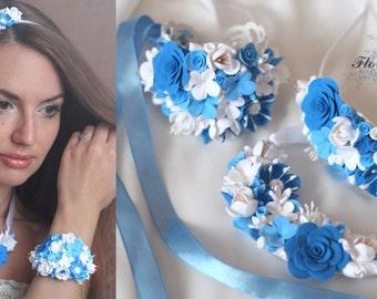 blue jewelry, jewelry set, wedding stuff, flower necklace, blue earrings, bridesmaids jewellery, bride bracelet, blue rose necklace, blue