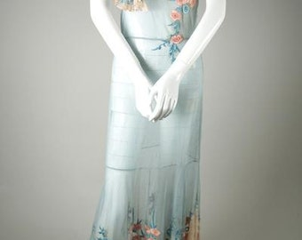 Stunning 1930s Embroidered Two-Toned Silk Tulle Dress
