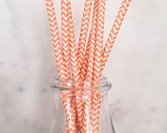 Orange Chevron Paper Straws (25)