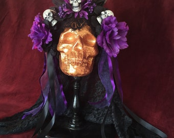 Day of the Dead Purple Headdress Flowers and skulls