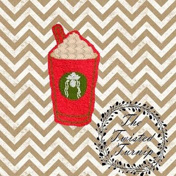 In The Hoop Cute Christmas Coffee Mocha Latte Cappuccino Felt Feltie Embroidery Design Designs File Instant Download 5x7 Hoop