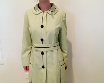 Vintage 60s Light Green and Black Trench Coat with Peter Pan Collar