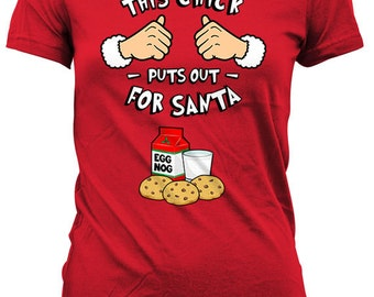Funny Holiday Shirt This Chick Puts Out For Santa T Shirt Christmas Present Holiday Gift Ideas Xmas Gifts For Women Ladies Tee TGW-611