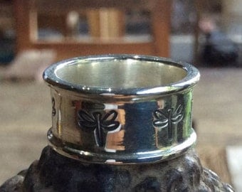Balinese Silver Dragonfly Band Ring - any size