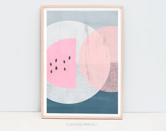 Downloadable Abstract Art, Abstract Print, Pink Geometric Art Print, Abstract Poster, Abstract Printable, Pink and Blue Art, mid century art