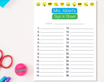 Emoji Sign in Sheet - PRINTABLE CUSTOMIZED - Classroom Teacher Student Resources