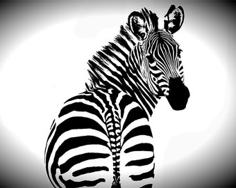 Zebra Photography - Black and White Zebra Vignette - Black and White Photography - Instant Downloadable JPG - Safari Animals - Art Deco