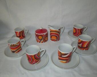 Mid Century Modern Tea Set Swirls and Circles Orange Red Brown White Porcelain Demitasse with Cream and sugar