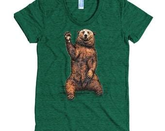 Waving Bear T Shirt - Big Bear Tee - Brown Bear T Shirt - Mountain Bear - Women's American Apparel T Shirt - Item 1049