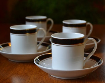 Demitasse Cups and Saucers, Crown Porcelain Prestige, Set of 4, vintage coffee gold black