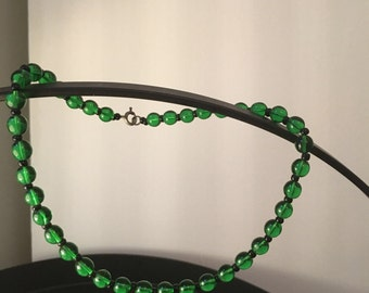 Green Glass Vintage Necklace