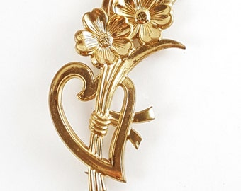 Vintage Art Nouveau Style Flower and Heart Brooch // 1980s Gold Tone Pin // gift for her // gift for mom // wife gift