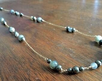 Long Labradorite & Pyrite 14K Gold Filled Necklace