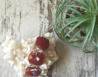 Carnelian Agate Drop Necklace