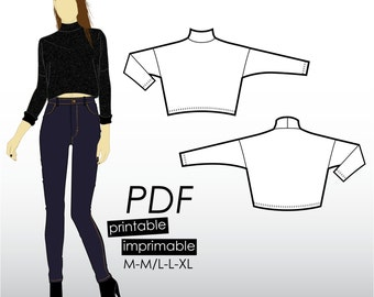 M-XL Boxy cropped sweater with turtle neck (PDF sewing pattern for jersey)
