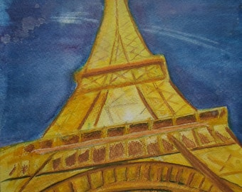 Eiffel Tower by night. Blank Greetings Card