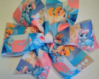 Cinderella Hair Bow, Princess Hair Bow, Pinwheel Hair Bow.