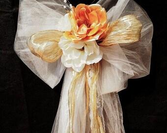 12 Classy Elegant Wedding Church Pews, Bows, Decorations for Church Chair, Beach or Garden Wedding.