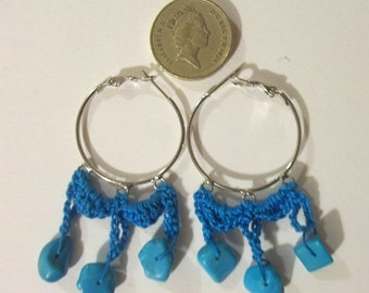Crochet blue earrings
