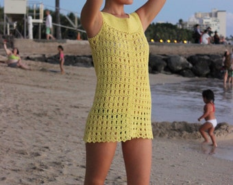 Vintage 60s/70s Yellow Beach Cover-Up Crochet Mini Dress