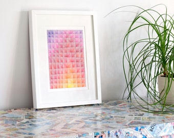 Abstract Art Geometric Abstract Drawing Contemporary Art on Card