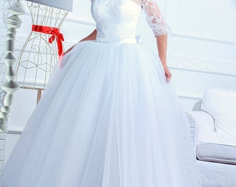 ball bridal gown white wedding dress country tulle maxi skirt vintage inspired bridal separates lace corset prom dress scoop neck Adel1.5
