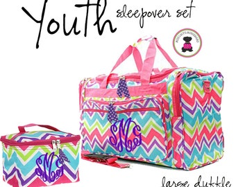 Monogrammed 2 Piece Travel/Sleepover Set for Youth - Multi Color Chevron - FREE SHIP