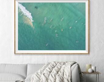 Gold Coast Aerial Beach Photography, Large Wall Art Decor, Colour Fine Art Photography, Art Prints, Australia, Beach Aqua Surfers Surf Decor