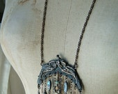 Rustic Relic Assemblage Vintage Bead Fringe Charm Tribal Neo Victorian Repurposed Reconstructed Antique Mermaid Chatelaine Frame Necklace