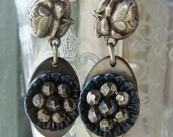 Upcycled Antique Buttons and Sterling Religious Rose Findings French Cut Steel Button Earrings