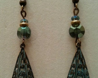 Brass filigree pendants with Czech glass accents and NICKEL FREE ear wires